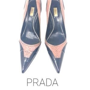 Prada Leather Oxford Pointy Pumps 37.5